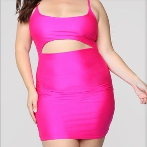 Pink Neon Cut Out Dress